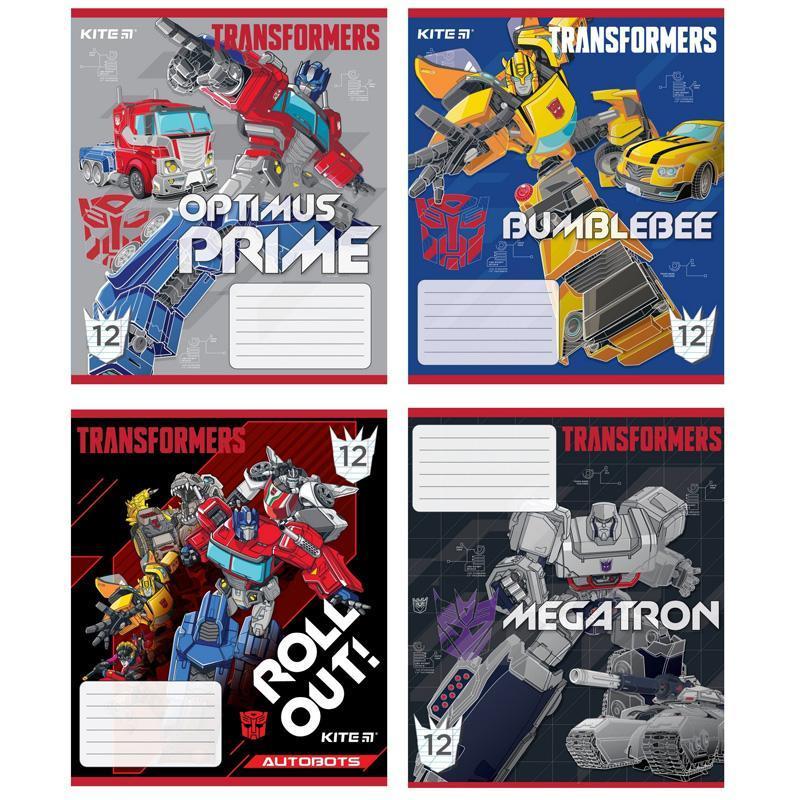 Тетрадь школьная Kite Transformers 12 листов в косую линию TF20-235 (20шт)
