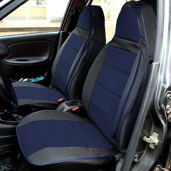 """Чохли сидінь """"Пілот"""" ВАЗ 2107 чорна Шкірозамінник + тканина синя"""