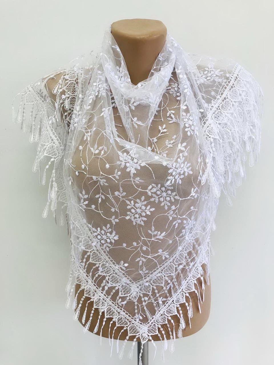 Платок белый свадебный церковный ажурный 230031