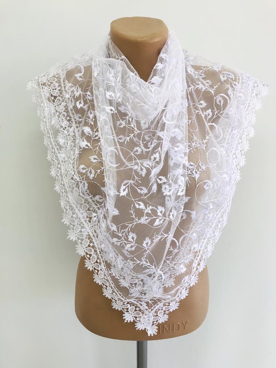Платок белый свадебный церковный ажурный 230043