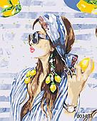 Картина за номерами Дівчина з лимонами, кольоровий полотно на картоні, 40*50 см, без коробки