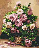 Картина за номерами Букет троянд, кольоровий полотно на картоні, 40*50 см, без коробки