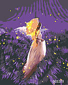 Картина по номерам Девушка на лавандовом поле, цветной холст, 40*50 см, без коробки