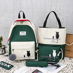 Рюкзак зеленый с бежевым с котом с сумочкой и пеналом в комплекте