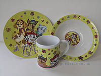 Набор детской посуды из керамики с щенячим патрулем