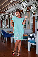 Платье лен большие размеры 48-50;52-54;56-58;60-62 беж, мята, красный, фото 1