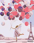 Картина за номерами Париж, дівчина з кульками, кольоровий полотно на картоні, 40*50 см, без коробки