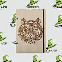 Деревянный блокнот В6 Тигр (светлое дерево), фото 1