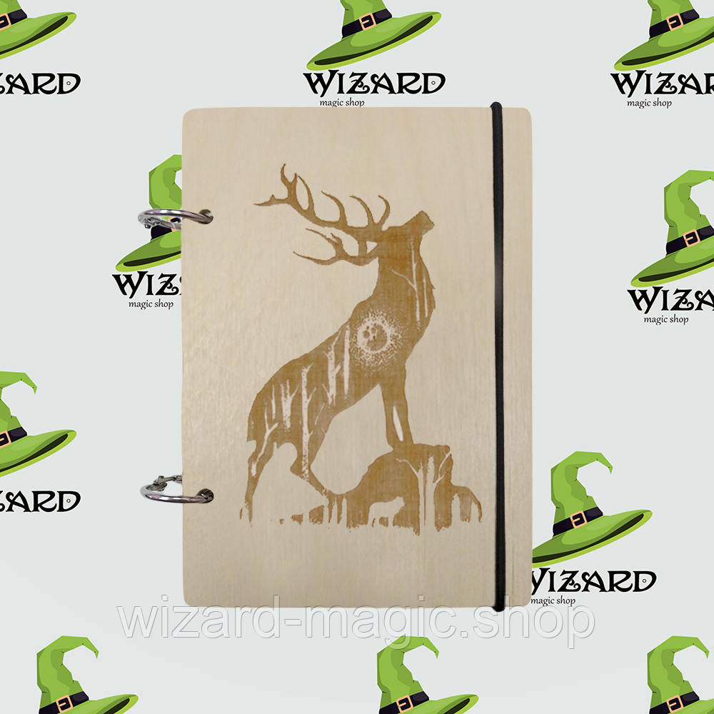 Деревянный блокнот В6 Блогородный олень (светлое дерево)
