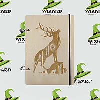 Деревянный блокнот В6 Блогородный олень (светлое дерево), фото 1