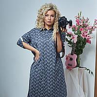 Платье рубашка большие размеры 48 50, 52 54, 56 58, 60 62светло серый, горчица, графит, фото 1