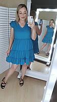 Платье женское софт 42,44,46,48  голубой,ваниль,оливковый мк21071, фото 1