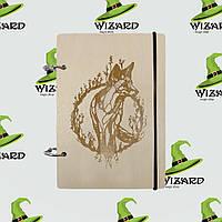 Деревянный блокнот В6 Лисица (светлое дерево), фото 1