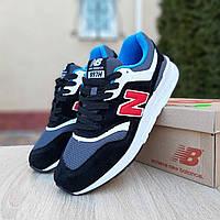 Мужские кроссовки New Balance 997 чёрные с красной буквой N (ТОП реплика), фото 1