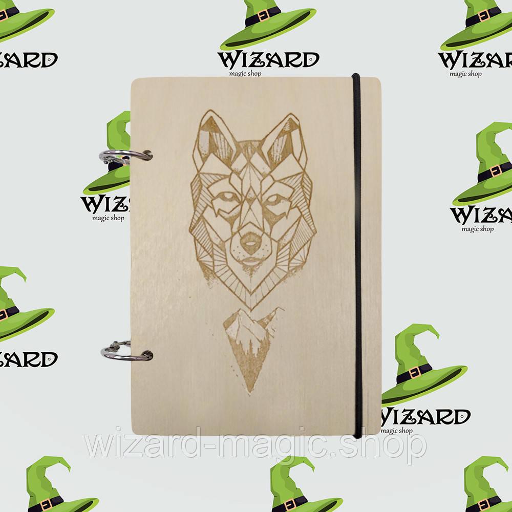 Деревянный блокнот В6 Волк (светлое дерево)