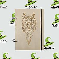 Деревянный блокнот В6 Волк (светлое дерево), фото 1