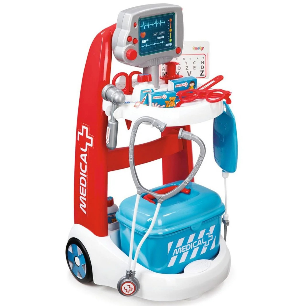 Ігровий набір дитячий Smoby Візок медичної допомоги з обладнанням для дітей