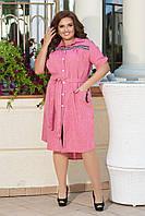 Літній лляне батальне плаття-пубашка з кишенями і пояском (р. 48-62). Арт-1355/45, фото 1