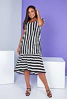 Женское летние платье в полоску удлиненное большие размеры  50,52,54,56, фото 1
