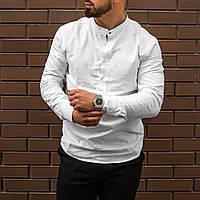 Стильная белая мужская рубашка из льна с длинным рукавом S M L XL XXL