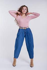 Женские джинсы с высокой посадкой укороченные