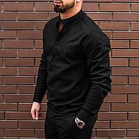 Чёрная мужская рубашка из льна с длинным рукавом S M L XL XXL