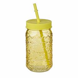 Банку-джар з соломинкою Vintage 470 мл, жовтий