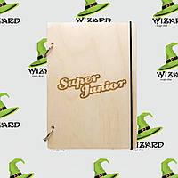 Деревянный блокнот В6 Super Junior kpop (светлое дерево), фото 1