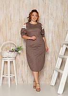 ЖЕнское летние платье  коттон в горох большие размеры 50-52; 54-56; 58-60; 62-64 вм21071, фото 1
