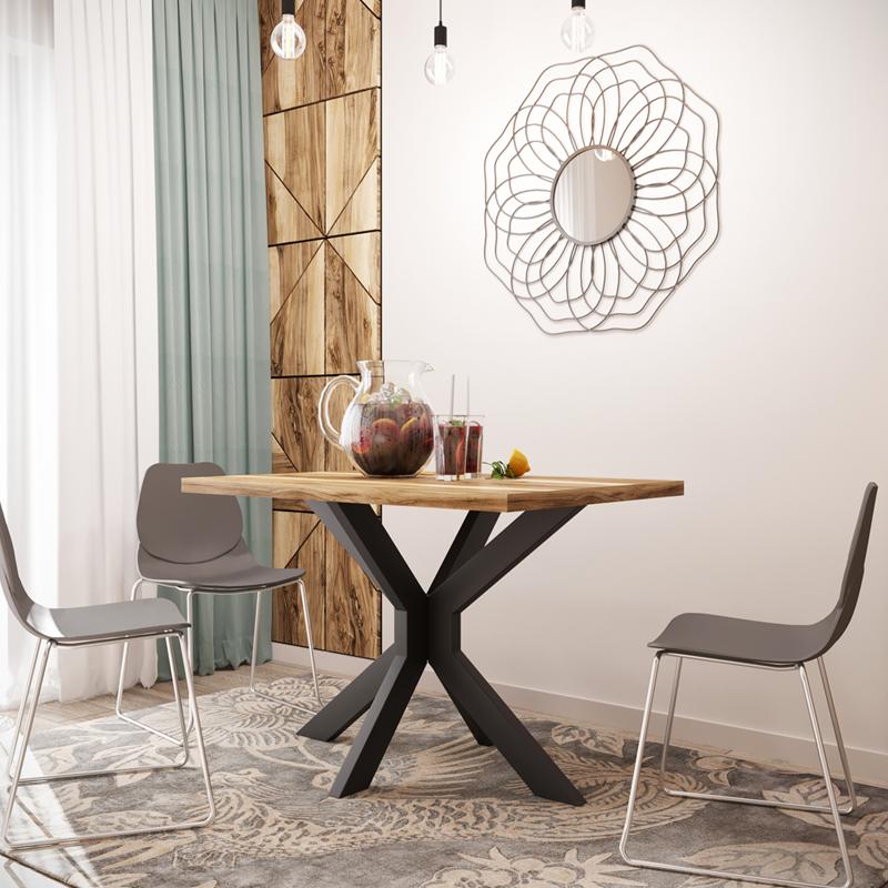 Стол обеденный в стиле лофт металлический Кросс