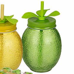 Банка стеклянная с трубочкой для смузи и коктейлей Тропические фрукты, зеленая