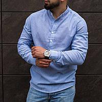 Мужская голубая плосочку рубашка из льна с длинным рукавом S M L XL XXL
