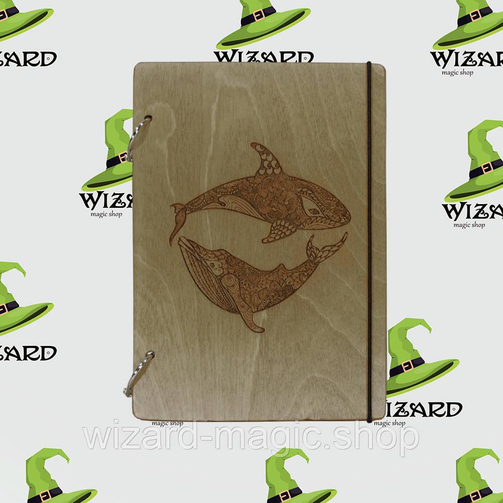 Деревянный блокнот В6 Два кита (мореное дерево)