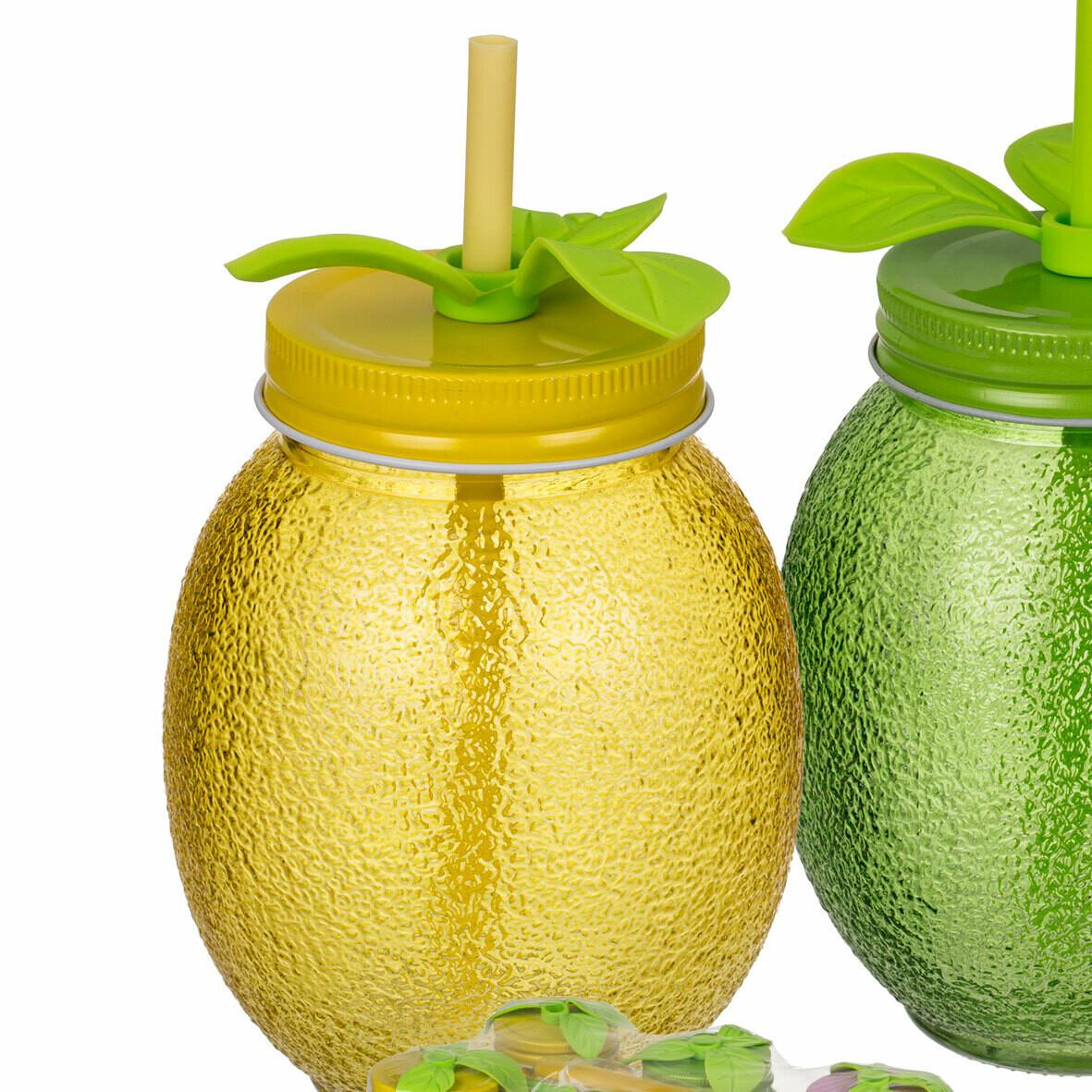 Банка стеклянная с трубочкой для смузи и коктейлей Тропические фрукты, желтая