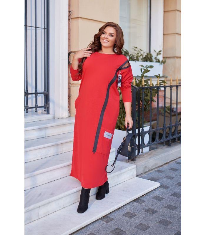 Женское трикотажное платье с декоративной молнией больших размеров 50-60