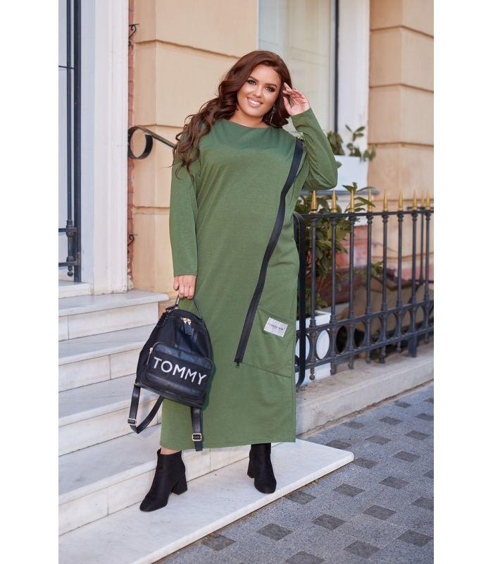 Женское трикотажное платье с декоративной молниейбольших размеров 50-60