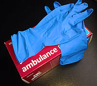 Перчатки AMBULANCE HIGH RISK синие латексные повышенной прочности 50шт (25пар), размер S