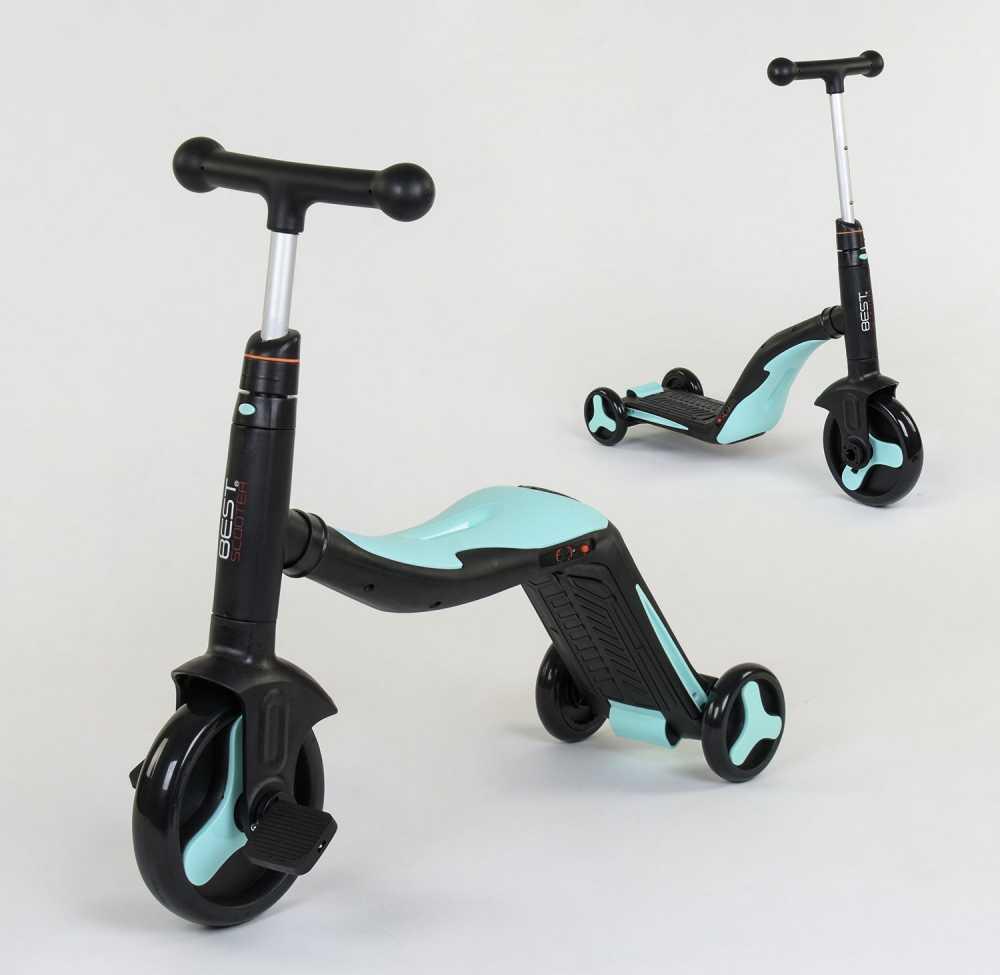 Самокат беговел велосипед трехколесный Best Scooter 20255 3 в 1, черно-голубой