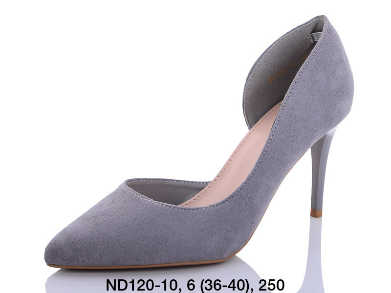 Туфли женские на каблуке серые Teetspace-Trasta-Egga-ND120-10