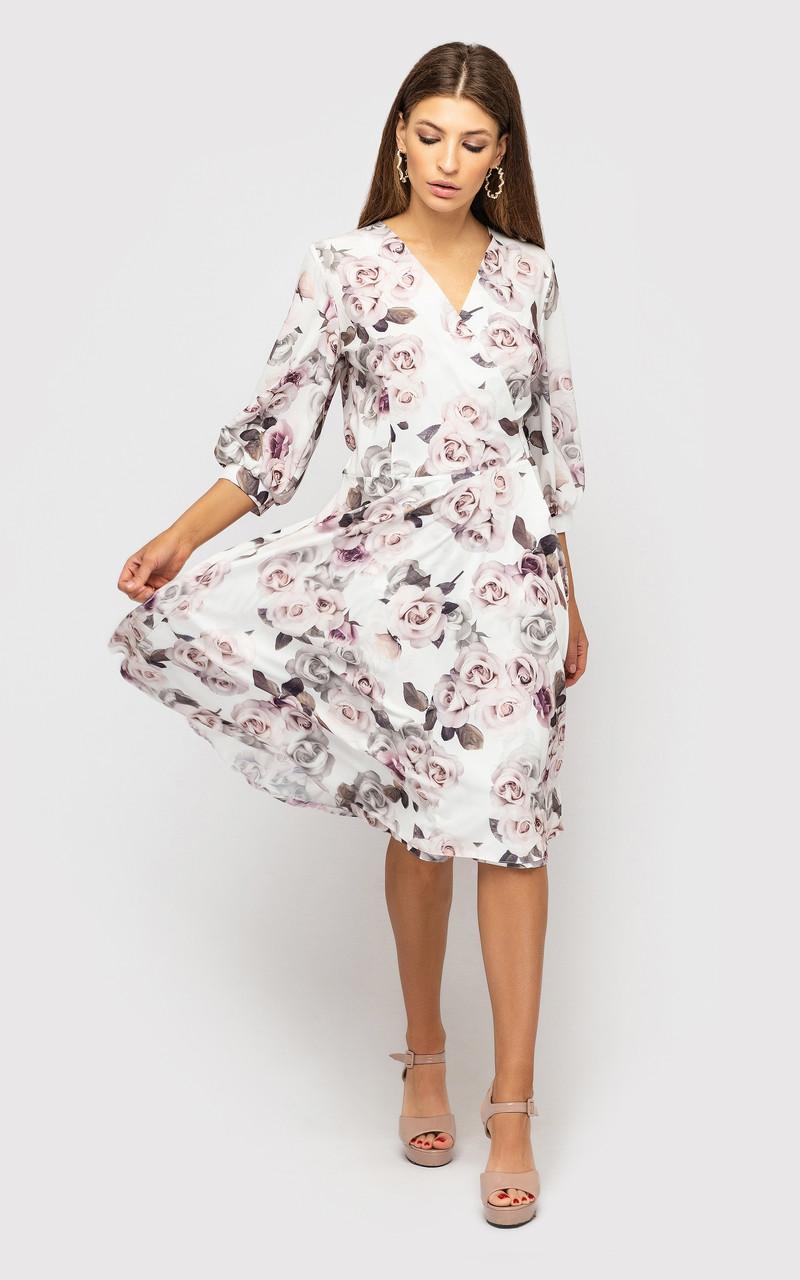 """Жіноче плаття на запах з V-подібним вирізом і подовженим рукавом """"Сузанна"""""""