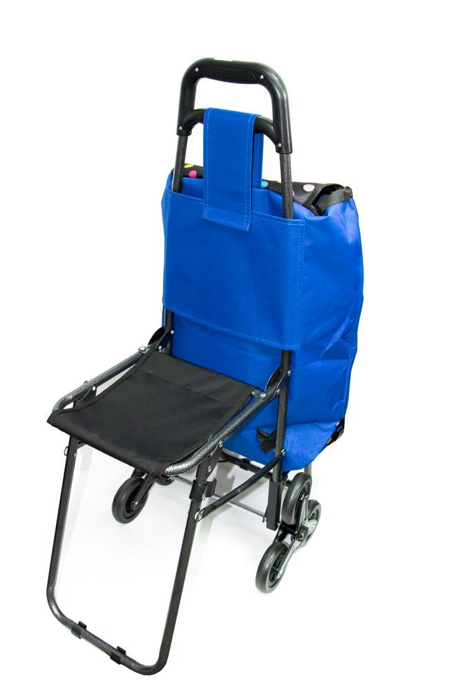 Кравчучка з сумкою, | Колір №16 - синя з кольоровим горошком вісь на трьох колесах| ручний візок