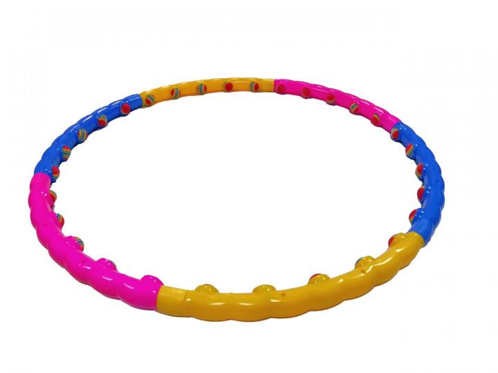 Обруч MS 0088 (15шт) масажный, 99см, 6 частей, мягкие шарики 30шт, в кульке, 32-49-5см