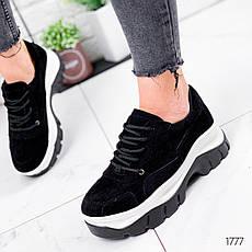Кросівки жіночі чорні на платформі з еко замші. Кросівки жіночі чорні на платформі, фото 2
