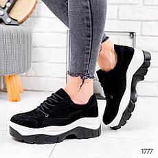 Кросівки жіночі чорні на платформі з еко замші. Кросівки жіночі чорні на платформі, фото 3