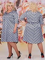 Шелковое женское платье в горошек больших размеров белое (3 цвета) НС/-500