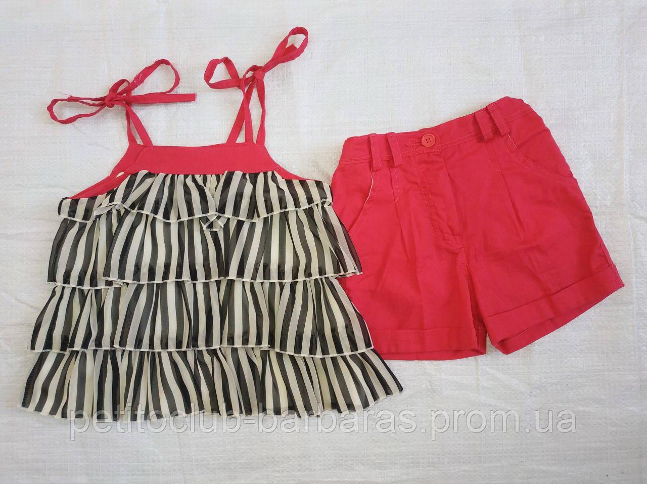 Детский летний комплект для девочки Shoes: блуза в рюшечки на бретелях + шорты  (Petito Club, Турция)