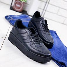 Кроссовки женские черные на платформе в стиле Nike из эко кожи. Кросівки жіночі чорні на платформі, фото 3