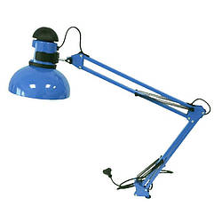 Настольная лампа с креплением к столу, выключатель на плафоне, синяя