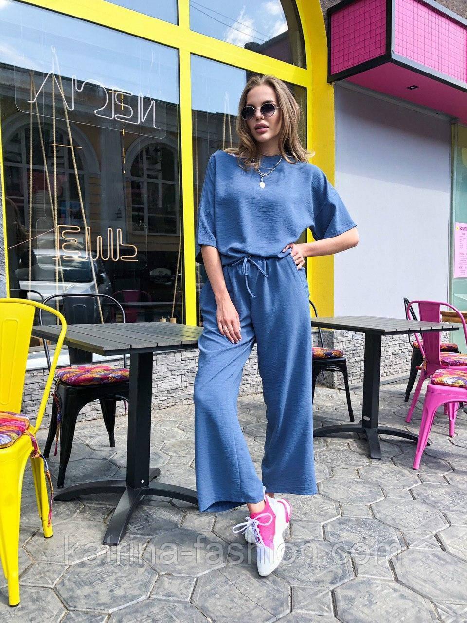 Женский костюм лен свободного кроя: футболка и широкие брюки кюлоты (в расцветках)