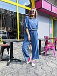 Женский костюм лен свободного кроя: футболка и широкие брюки кюлоты (в расцветках), фото 3